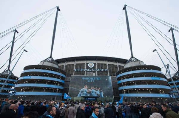MANCHESTER, ENGLAND - Tuesday, April 10, 2018: A general view of the main entrance of the stadium before the UEFA Champions League Quarter-Final 2nd Leg match between Manchester City FC and Liverpool FC at the City of Manchester Stadium. (Pic by Peter Powell/Propaganda)