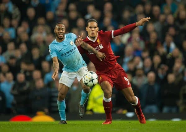 MANCHESTER, ENGLAND - Tuesday, April 10, 2018:  Raheem Sterling of Manchester City (L) in action with Virgil van Dijk of Liverpool (R) during the UEFA Champions League Quarter-Final 2nd Leg match between Manchester City FC and Liverpool FC at the City of Manchester Stadium. (Pic by Peter Powell/Propaganda)