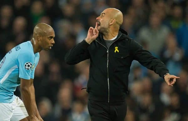 MANCHESTER, ENGLAND - Tuesday, April 10, 2018: Pep Guardiola manager of Manchester City reacts as the half time whistle is blown during the UEFA Champions League Quarter-Final 2nd Leg match between Manchester City FC and Liverpool FC at the City of Manchester Stadium. (Pic by Peter Powell/Propaganda)
