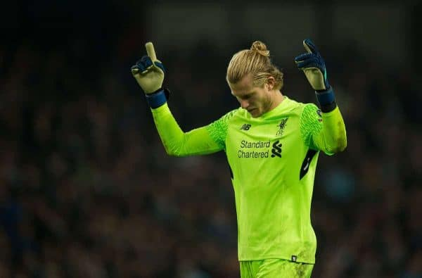MANCHESTER, ENGLAND - Tuesday, April 10, 2018:Loris Karius of Liverpool celebrates after Roberto Firmino goal during the UEFA Champions League Quarter-Final 2nd Leg match between Manchester City FC and Liverpool FC at the City of Manchester Stadium. (Pic by Peter Powell/Propaganda)