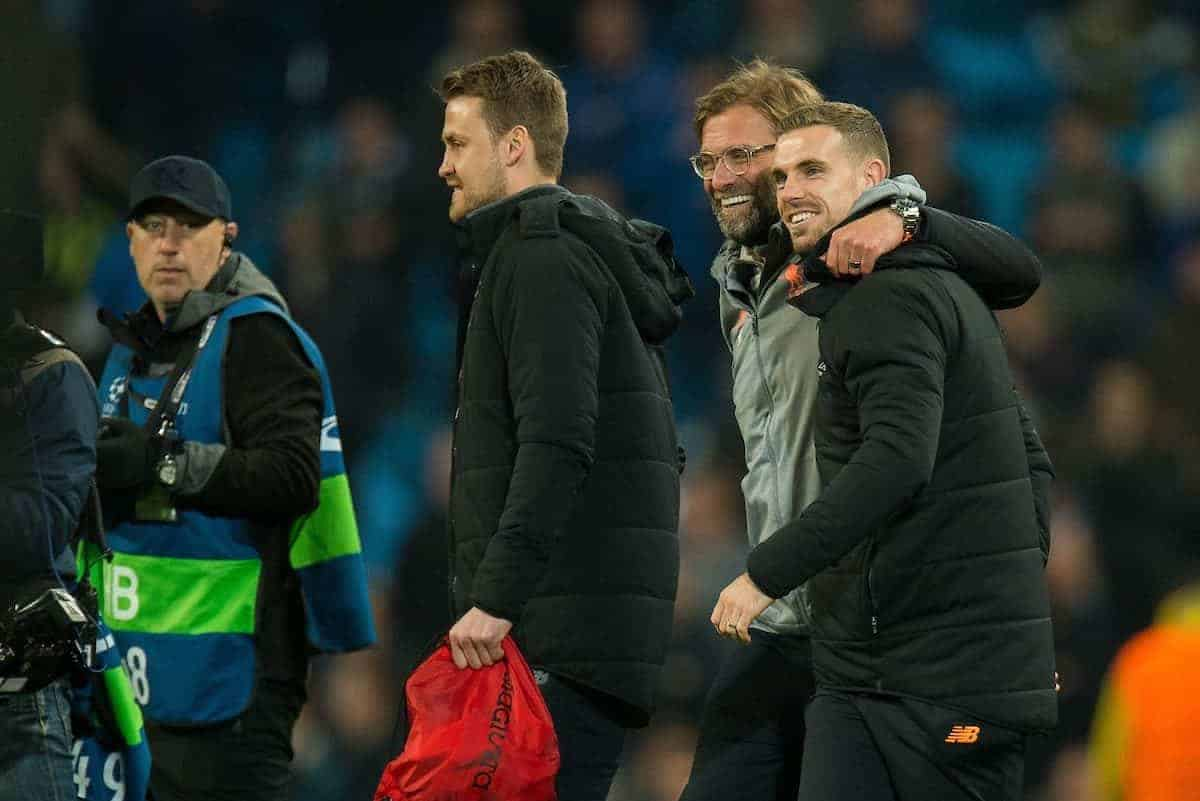 MANCHESTER, ENGLAND - Tuesday, April 10, 2018:Jurgen Klopp manager of Liverpool reacts with Jordan Henderson after winning the UEFA Champions League Quarter-Final 2nd Leg match between Manchester City FC and Liverpool FC at the City of Manchester Stadium. (Pic by Peter Powell/Propaganda)
