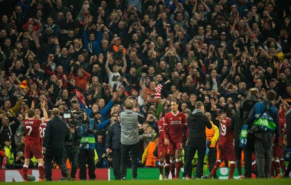 MANCHESTER, ENGLAND - Tuesday, April 10, 2018:The Liverpool players react with the fans after winning the UEFA Champions League Quarter-Final 2nd Leg match between Manchester City FC and Liverpool FC at the City of Manchester Stadium. (Pic by Peter Powell/Propaganda)