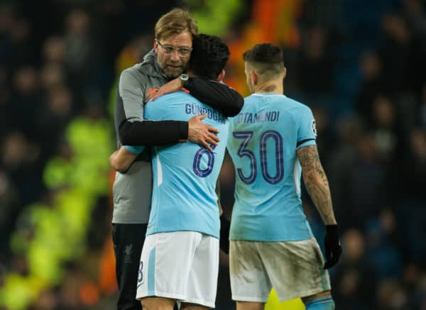MANCHESTER, ENGLAND - Tuesday, April 10, 2018: Jurgen Klopp manager of Liverpool (L) reacts with Ilkay Gundogan of Manchester City (R) after the UEFA Champions League Quarter-Final 2nd Leg match between Manchester City FC and Liverpool FC at the City of Manchester Stadium. (Pic by Peter Powell/Propaganda)