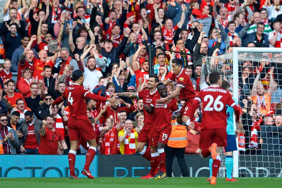 LIVERPOOL, ENGLAND - Saturday, April 14, 2018: Liverpool's Sadio Mane celebrates scoring the first goal with team-mates Virgil van Dijk, Dejan Lovren and Roberto Firmino during the FA Premier League match between Liverpool FC and AFC Bournemouth at Anfield. (Pic by Laura Malkin/Propaganda)