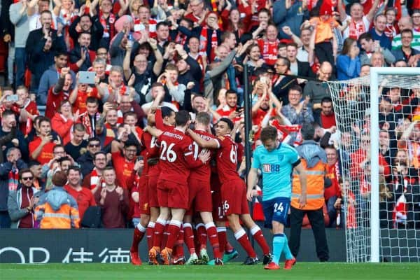 LIVERPOOL, ENGLAND - Saturday, April 14, 2018: Liverpool players celebrate the first goal scored by Sadio Mane [hidden] and AFC Bournemouth's Ryan Fraser looks dejected during the FA Premier League match between Liverpool FC and AFC Bournemouth at Anfield. (Pic by Laura Malkin/Propaganda)