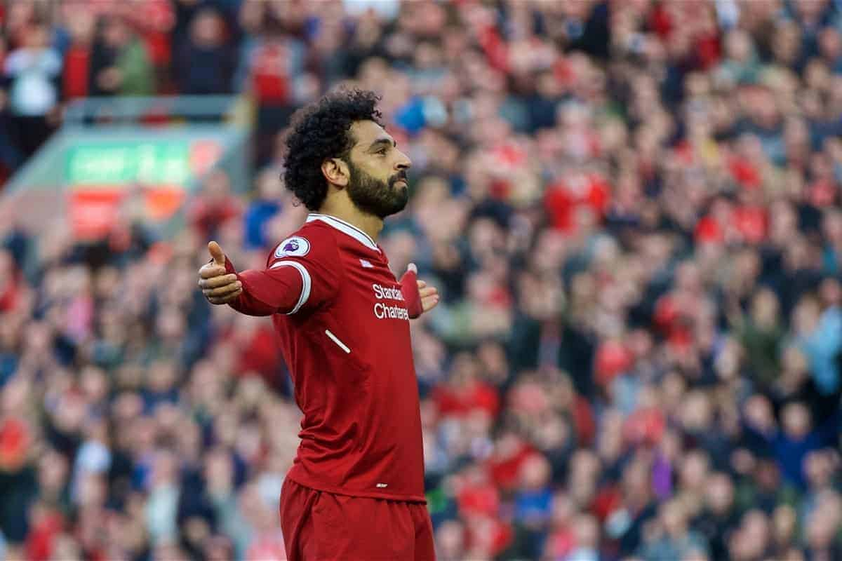 Liverpool's Mohamed Salah celebrates scoring the second goal during the FA Premier League match between Liverpool FC and AFC Bournemouth at Anfield. (Pic by Laura Malkin/Propaganda)
