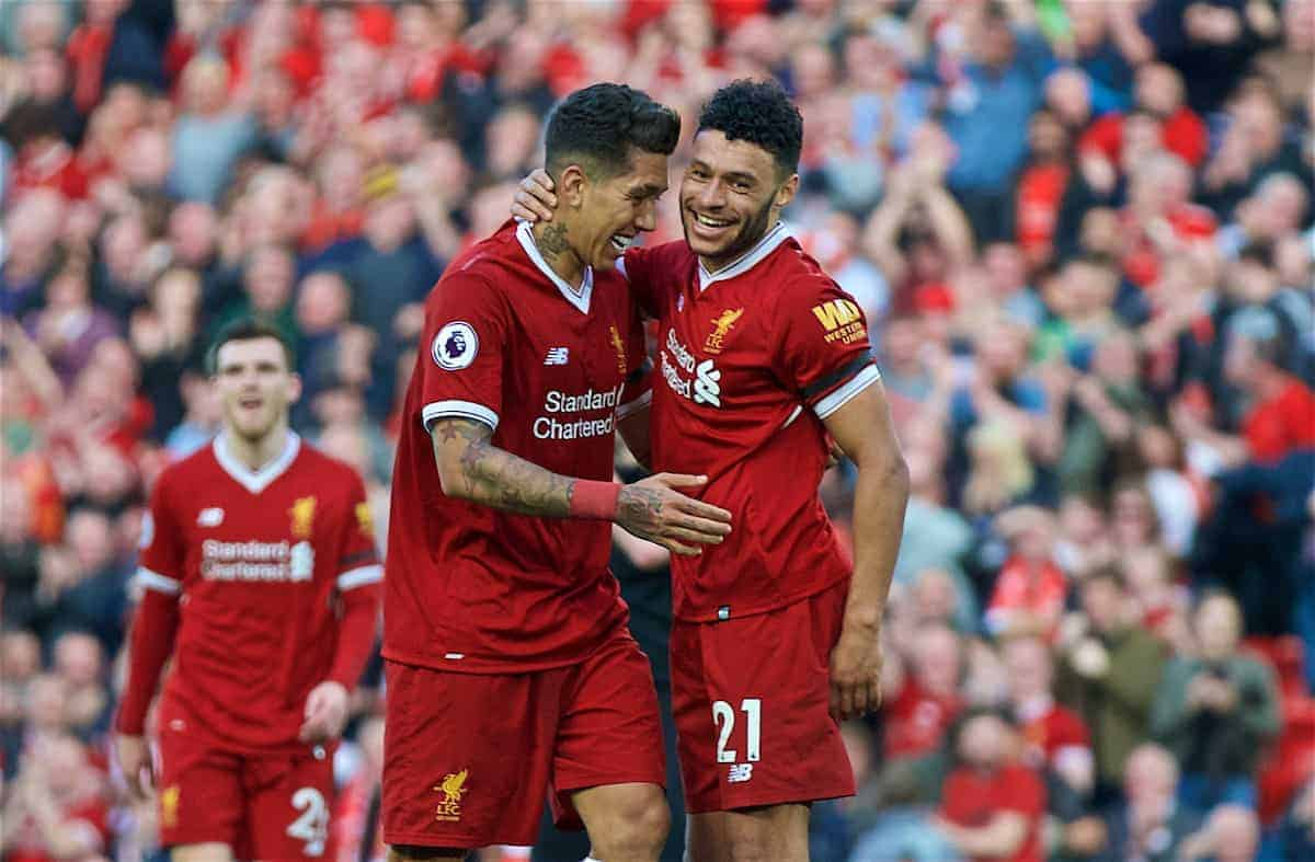 LIVERPOOL, ENGLAND - Saturday, April 14, 2018: Liverpool's Roberto Firmino celebrates scoring the third goal with team-mate Alex Oxlade-Chamberlain (right) during the FA Premier League match between Liverpool FC and AFC Bournemouth at Anfield. (Pic by Laura Malkin/Propaganda)