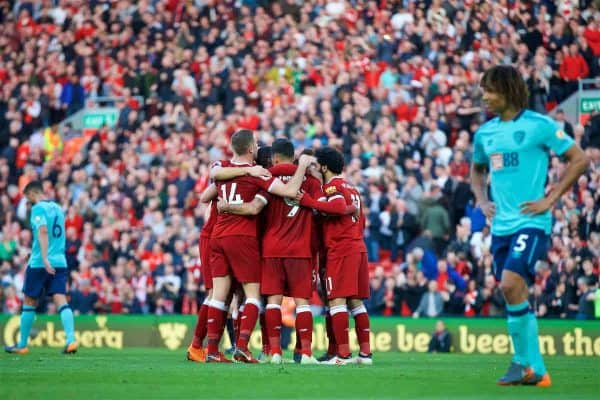 LIVERPOOL, ENGLAND - Saturday, April 14, 2018: Liverpool's Roberto Firmino celebrates scoring the third goal with team-mates during the FA Premier League match between Liverpool FC and AFC Bournemouth at Anfield. (Pic by Laura Malkin/Propaganda)