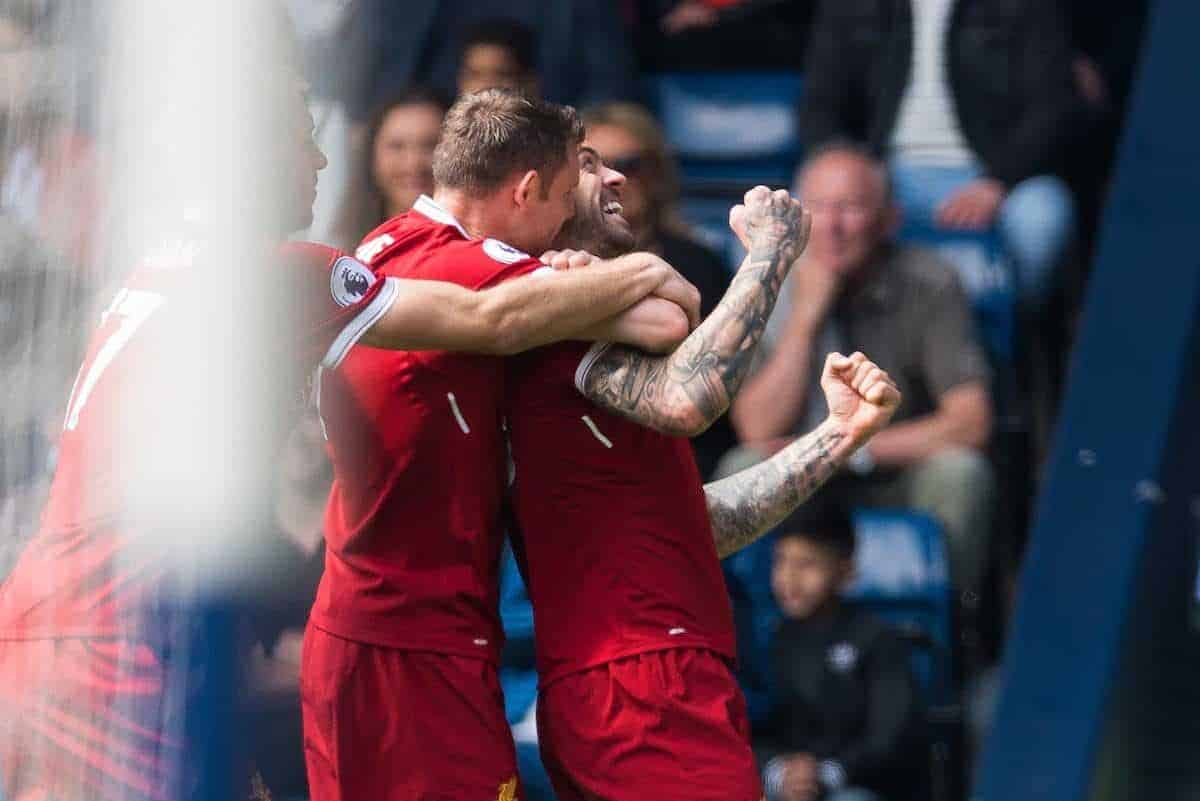 WEST BROMWICH, ENGLAND - Saturday, April 21, 2018: Liverpool's Danny Ings is congratulated after scoring the opening goal during the FA Premier League match between West Bromwich Albion FC and Liverpool FC at the Hawthorns. (Pic by Peter Powell/Propaganda)