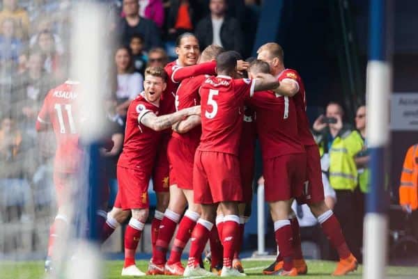 Liverpool's Danny Ings is congratulated after scoring the opening goal during the FA Premier League match between West Bromwich Albion FC and Liverpool FC at the Hawthorns. (Pic by Peter Powell/Propaganda)