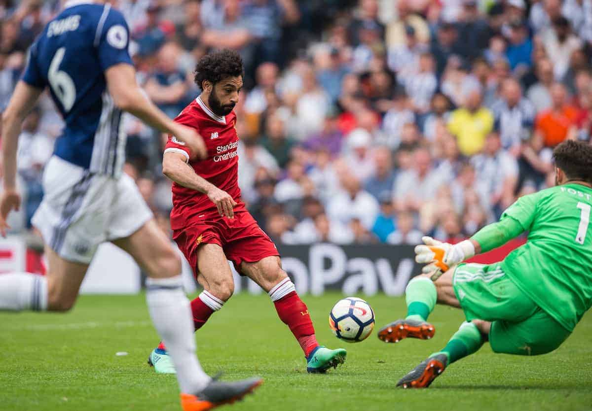 WEST BROMWICH, ENGLAND - Saturday, April 21, 2018: Liverpool?s Mohamed Salah scores the second goal during the FA Premier League match between West Bromwich Albion FC and Liverpool FC at the Hawthorns. (Pic by Peter Powell/Propaganda)