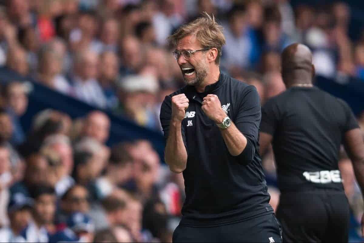 WEST BROMWICH, ENGLAND - Saturday, April 21, 2018: Liverpoolís manager Jurgen Klopp reacts after Mohamed Salah scores the second goal during the FA Premier League match between West Bromwich Albion FC and Liverpool FC at the Hawthorns. (Pic by Peter Powell/Propaganda)