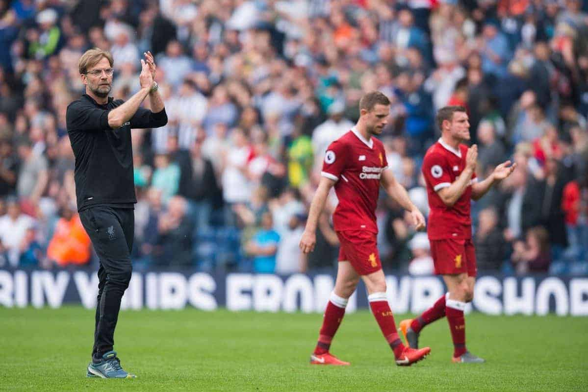WEST BROMWICH, ENGLAND - Saturday, April 21, 2018: Liverpoolís manager Jurgen Klopp with Jordan Henderson and James Milner react after the FA Premier League match between West Bromwich Albion FC and Liverpool FC at the Hawthorns. (Pic by Peter Powell/Propaganda)