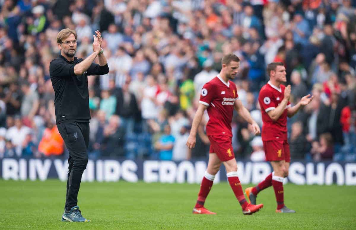WEST BROMWICH, ENGLAND - Saturday, April 21, 2018: Liverpool?s manager Jurgen Klopp with Jordan Henderson and James Milner react after the FA Premier League match between West Bromwich Albion FC and Liverpool FC at the Hawthorns. (Pic by Peter Powell/Propaganda)