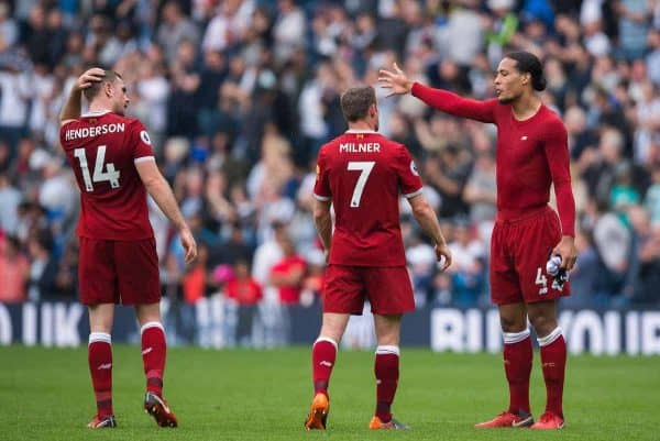 WEST BROMWICH, ENGLAND - Saturday, April 21, 2018: Liverpool's James Milner reacts with Virgil van Dijk and Jordan Henderson after the FA Premier League match between West Bromwich Albion FC and Liverpool FC at the Hawthorns. (Pic by Peter Powell/Propaganda)