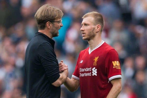 Liverpoolís manager Jurgen Klopp reacts with Liverpoolís Ragnar Klavan after the FA Premier League match between West Bromwich Albion FC and Liverpool FC at the Hawthorns. (Pic by Peter Powell/Propaganda)