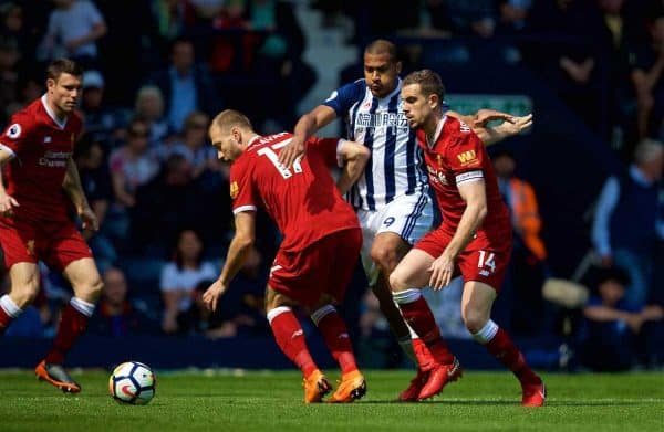 WEST BROMWICH, ENGLAND - Saturday, April 21, 2018: West Bromwich Albion's Salomon Rondon (centre) and Liverpool's Ragnar Klavan (left) and captain Jordan Henderson (right) during the FA Premier League match between West Bromwich Albion FC and Liverpool FC at the Hawthorns. (Pic by David Rawcliffe/Propaganda)
