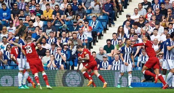 Liverpool's Danny Ings celebrates scoring the first goal during the FA Premier League match between West Bromwich Albion FC and Liverpool FC at the Hawthorns. (Pic by David Rawcliffe/Propaganda)