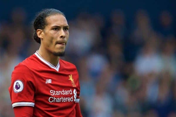Liverpool's Virgil van Dijk during the FA Premier League match between West Bromwich Albion FC and Liverpool FC at the Hawthorns. (Pic by David Rawcliffe/Propaganda)