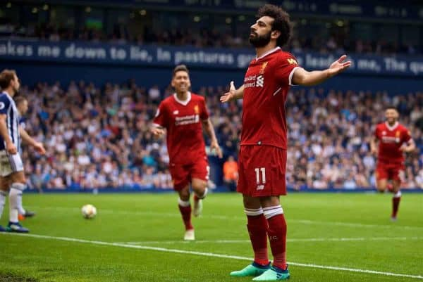 Liverpool's Mohamed Salah celebrates scoring the second goal during the FA Premier League match between West Bromwich Albion FC and Liverpool FC at the Hawthorns. (Pic by David Rawcliffe/Propaganda)