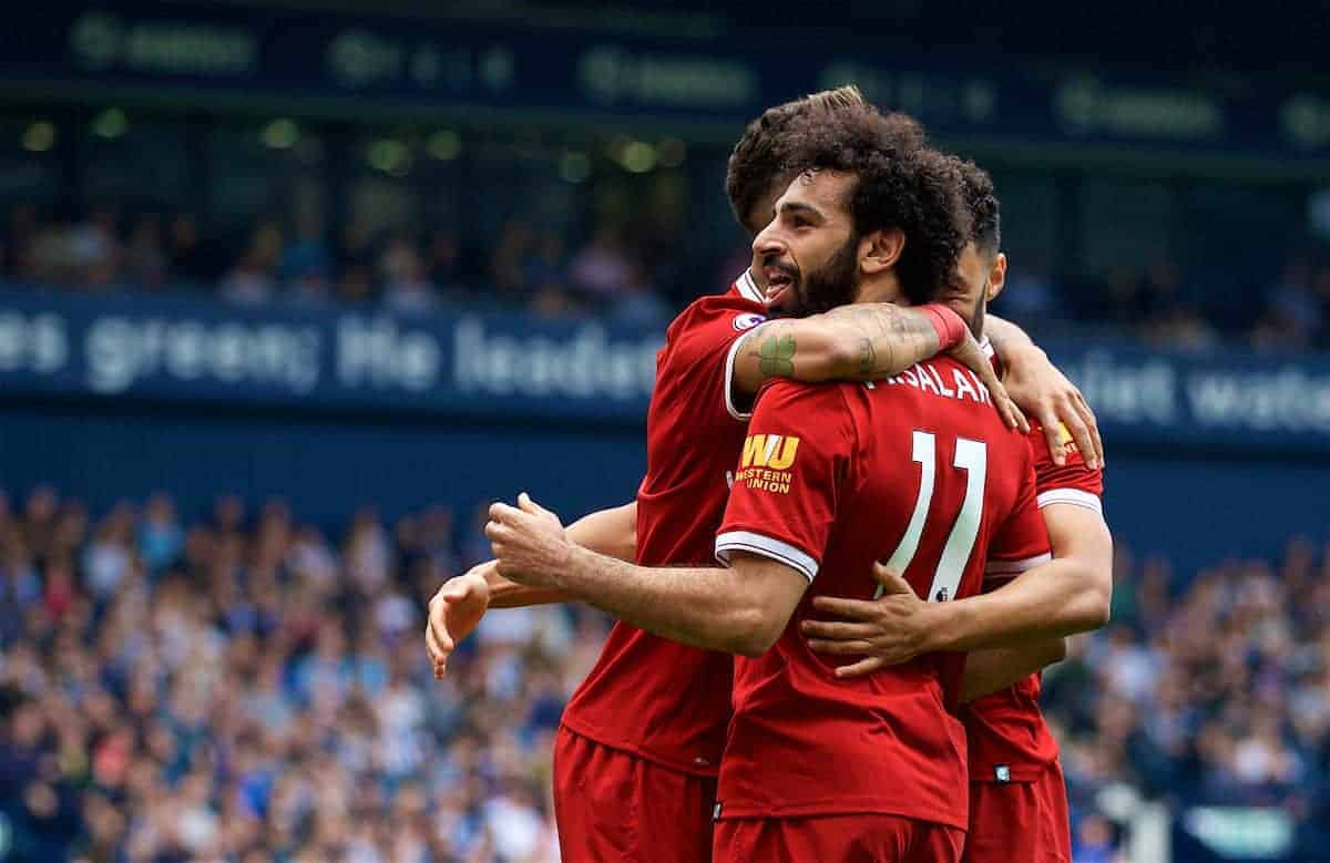 WEST BROMWICH, ENGLAND - Saturday, April 21, 2018: Liverpool's Mohamed Salah celebrates scoring the second goal during the FA Premier League match between West Bromwich Albion FC and Liverpool FC at the Hawthorns. (Pic by David Rawcliffe/Propaganda)