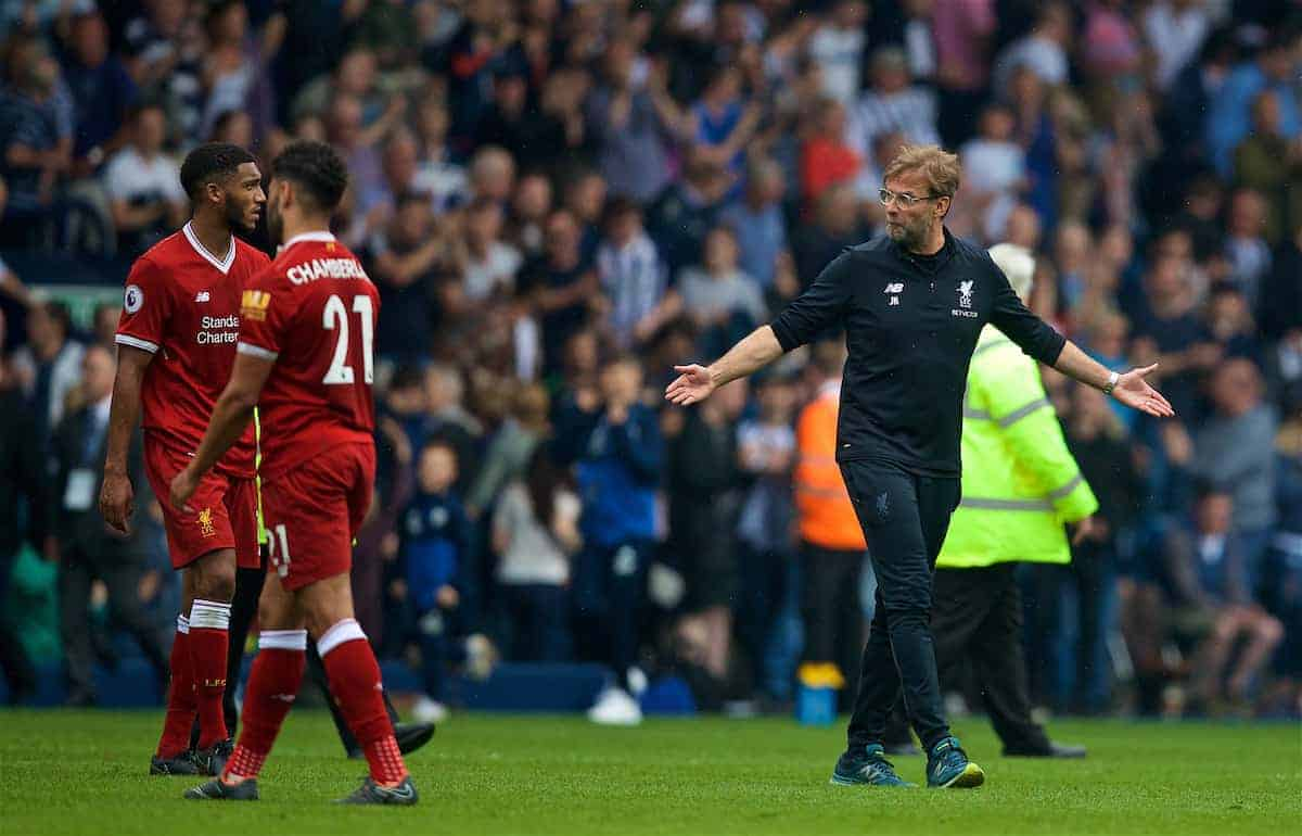 Liverpool's manager Jürgen Klopp and Joe Gomez after the 2-2 draw during the FA Premier League match between West Bromwich Albion FC and Liverpool FC at the Hawthorns. (Pic by David Rawcliffe/Propaganda)