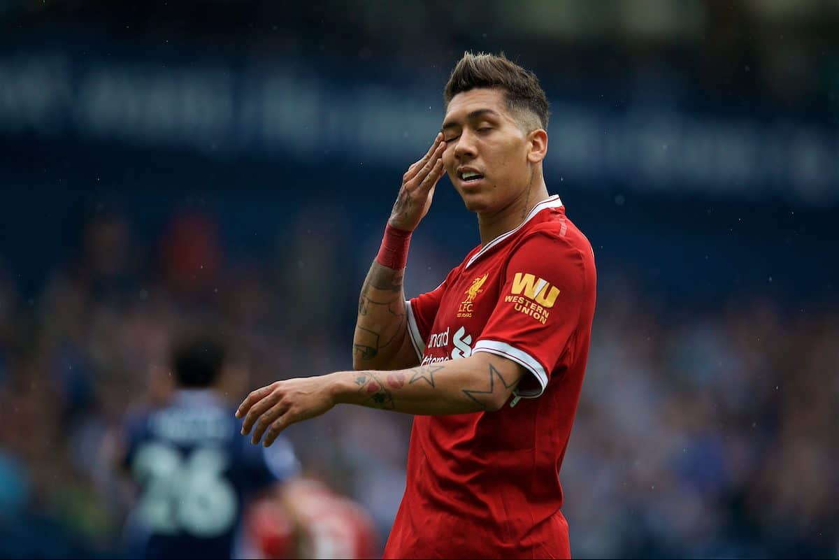 WEST BROMWICH, ENGLAND - Saturday, April 21, 2018: Liverpool's Roberto Firmino looks dejected during the FA Premier League match between West Bromwich Albion FC and Liverpool FC at the Hawthorns. (Pic by David Rawcliffe/Propaganda)