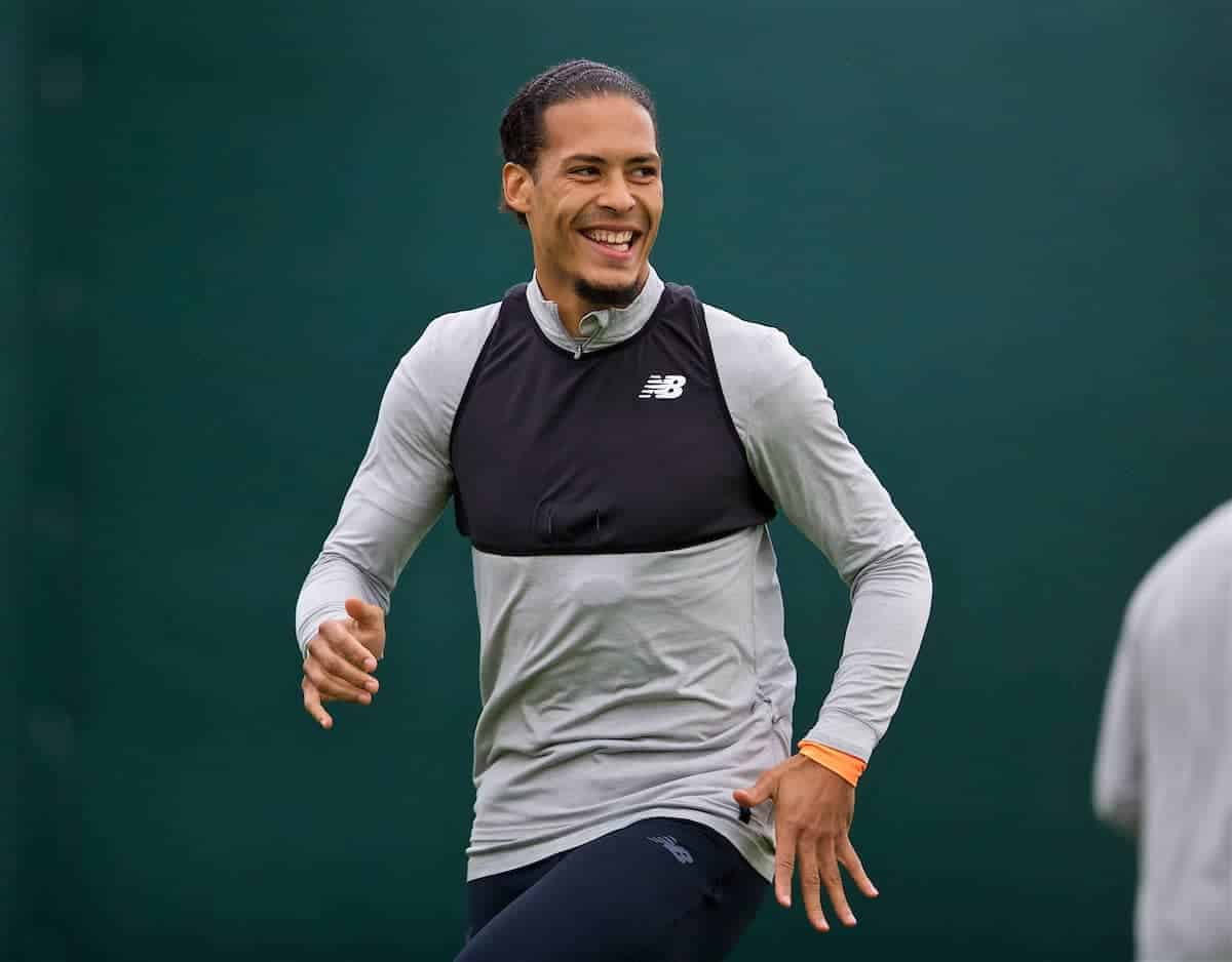 Liverpool's Virgil van Dijk during a training session at Melwood Training Ground ahead of the UEFA Champions League Semi-Final 1st Leg match between Liverpool FC and AS Roma. (Pic by David Rawcliffe/Propaganda)