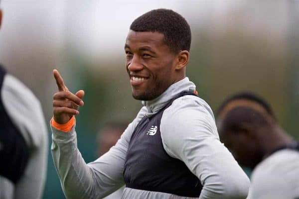 Liverpool's Georginio Wijnaldum during a training session at Melwood Training Ground ahead of the UEFA Champions League Semi-Final 1st Leg match between Liverpool FC and AS Roma. (Pic by David Rawcliffe/Propaganda)