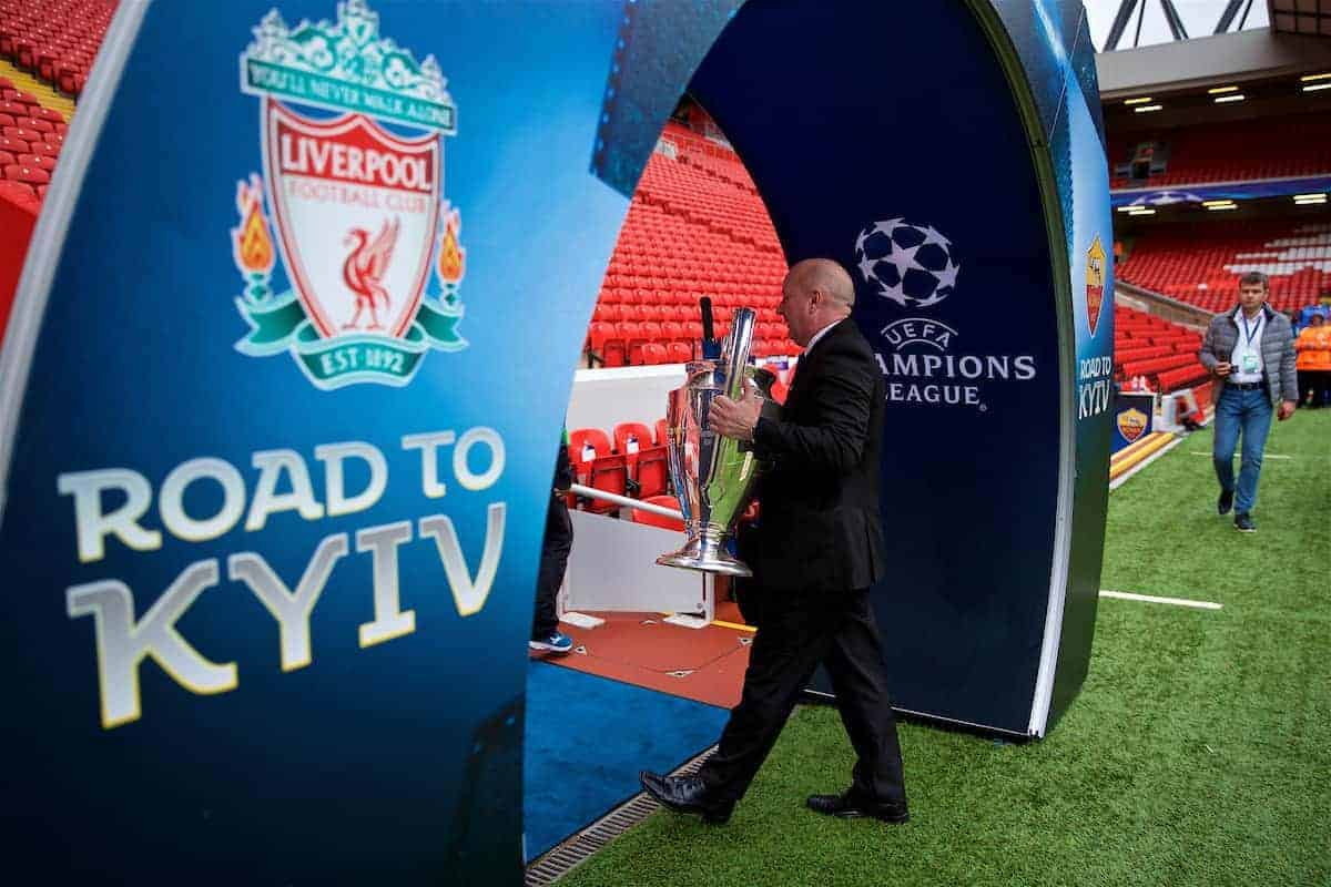 LIVERPOOL, ENGLAND - Tuesday, April 24, 2018: A Liverpool employee carries the European Cup trophy before before the UEFA Champions League Semi-Final 1st Leg match between Liverpool FC and AS Roma at Anfield. (Pic by David Rawcliffe/Propaganda)