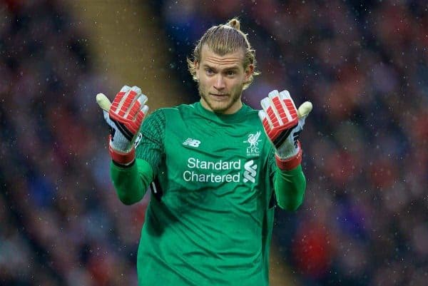LIVERPOOL, ENGLAND - Tuesday, April 24, 2018: Liverpool's goalkeeper Loris Karius during the UEFA Champions League Semi-Final 1st Leg match between Liverpool FC and AS Roma at Anfield. (Pic by David Rawcliffe/Propaganda)