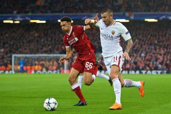LIVERPOOL, ENGLAND - Tuesday, April 24, 2018: Liverpool's Trent Alexander-Arnold and AS Romaís Aleksandar Kolarov during the UEFA Champions League Semi-Final 1st Leg match between Liverpool FC and AS Roma at Anfield. (Pic by David Rawcliffe/Propaganda)