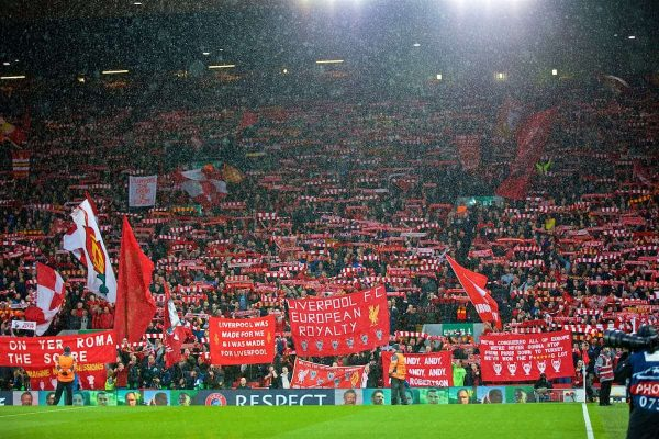 LIVERPOOL, ENGLAND - Tuesday, April 24, 2018: Liverpool supporters on the Spion Kop during the UEFA Champions League Semi-Final 1st Leg match between Liverpool FC and AS Roma at Anfield. (Pic by David Rawcliffe/Propaganda)