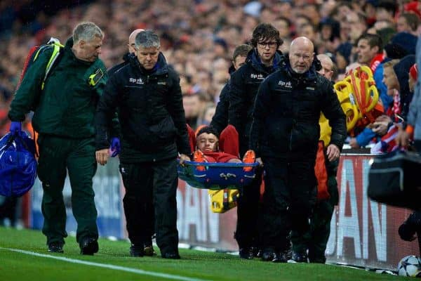 LIVERPOOL, ENGLAND - Tuesday, April 24, 2018: Liverpool's Alex Oxlade-Chamberlain is carried off injured during the UEFA Champions League Semi-Final 1st Leg match between Liverpool FC and AS Roma at Anfield. (Pic by David Rawcliffe/Propaganda)