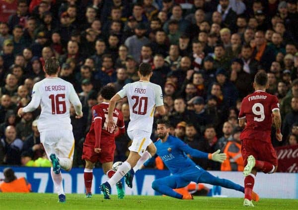 LIVERPOOL, ENGLAND - Tuesday, April 24, 2018: Liverpool's Mohamed Salah scores the second goal during the UEFA Champions League Semi-Final 1st Leg match between Liverpool FC and AS Roma at Anfield. (Pic by David Rawcliffe/Propaganda)