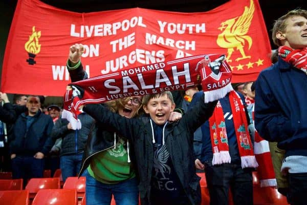 LIVERPOOL, ENGLAND - Tuesday, April 24, 2018: Liverpool supporters during the UEFA Champions League Semi-Final 1st Leg match between Liverpool FC and AS Roma at Anfield. (Pic by David Rawcliffe/Propaganda)