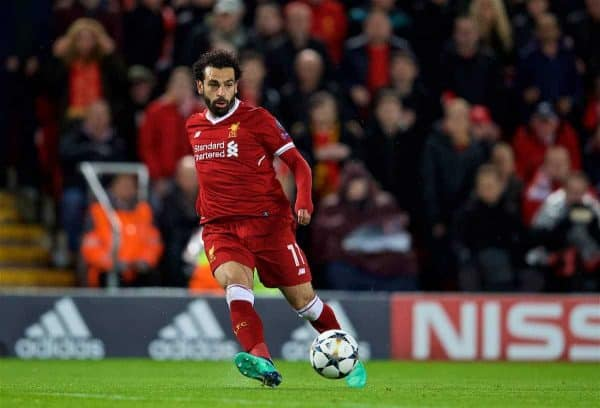 LIVERPOOL, ENGLAND - Tuesday, April 24, 2018: Liverpool's Mohamed Salah sets up the third goal during the UEFA Champions League Semi-Final 1st Leg match between Liverpool FC and AS Roma at Anfield. (Pic by David Rawcliffe/Propaganda)