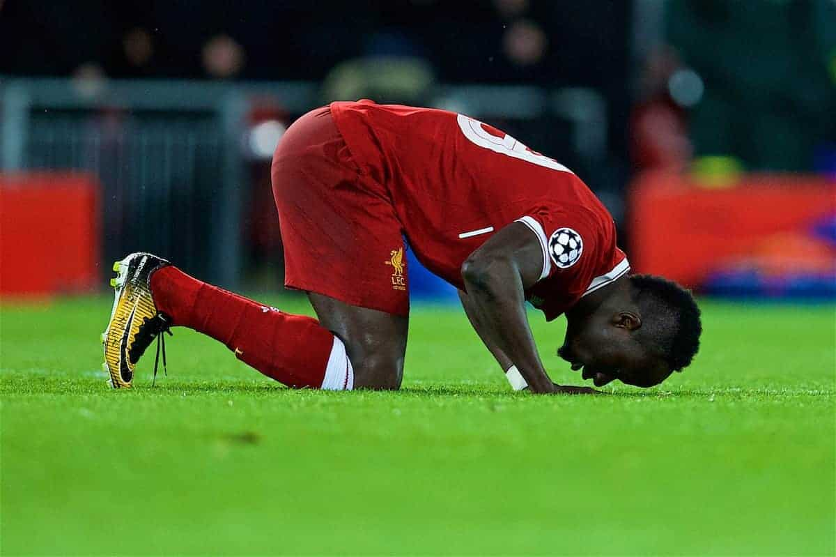 LIVERPOOL, ENGLAND - Tuesday, April 24, 2018: Liverpool's Sadio Mane kneels to pray as he celebrates scoring the third goal during the UEFA Champions League Semi-Final 1st Leg match between Liverpool FC and AS Roma at Anfield. (Pic by David Rawcliffe/Propaganda)