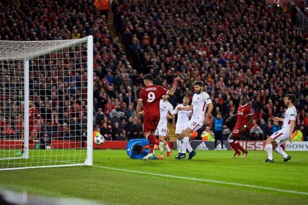 LIVERPOOL, ENGLAND - Tuesday, April 24, 2018: Liverpool's Roberto Firmino scores the fourth goal during the UEFA Champions League Semi-Final 1st Leg match between Liverpool FC and AS Roma at Anfield. (Pic by David Rawcliffe/Propaganda)