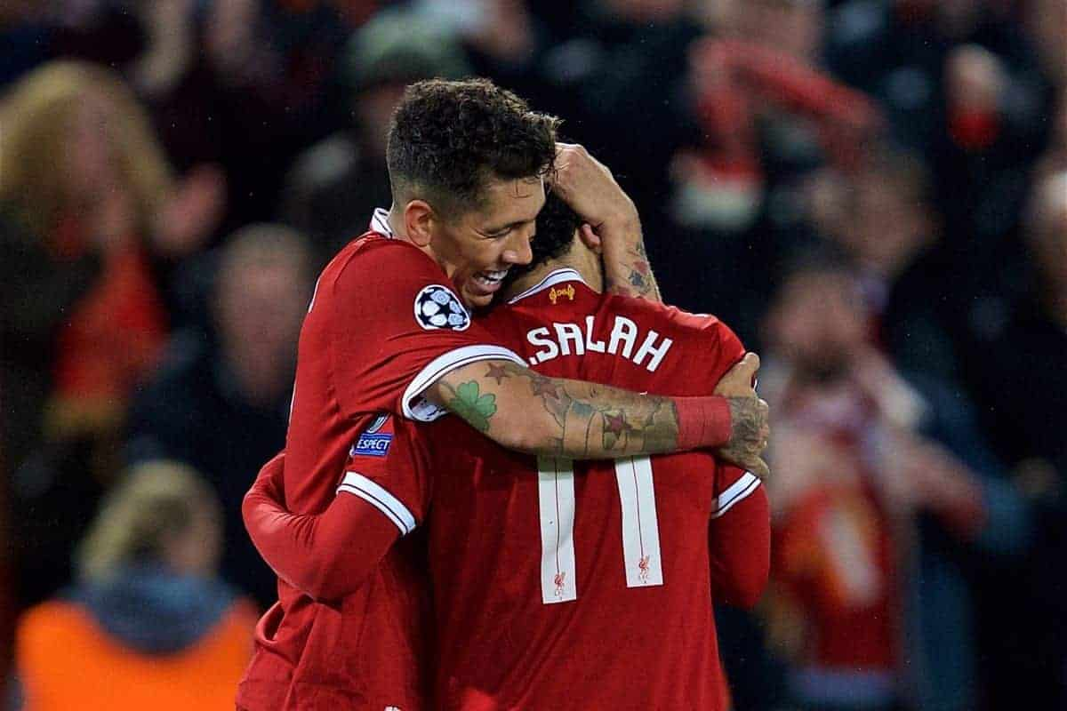 LIVERPOOL, ENGLAND - Tuesday, April 24, 2018: Liverpool's Roberto Firmino (left) celebrates scoring the fourth goal with team-mate Mohamed Salah during the UEFA Champions League Semi-Final 1st Leg match between Liverpool FC and AS Roma at Anfield. (Pic by David Rawcliffe/Propaganda)
