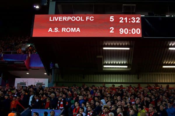 Liverpool's scoreboard records the 5-2 victory over AS Roma during the UEFA Champions League Semi-Final 1st Leg match between Liverpool FC and AS Roma at Anfield. (Pic by David Rawcliffe/Propaganda)
