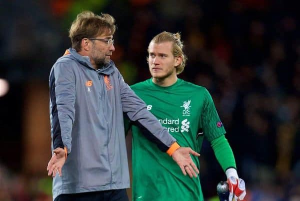 Liverpool's manager Jürgen Klopp and goalkeeper Loris Karius speak after the UEFA Champions League Semi-Final 1st Leg match between Liverpool FC and AS Roma at Anfield. (Pic by David Rawcliffe/Propaganda)
