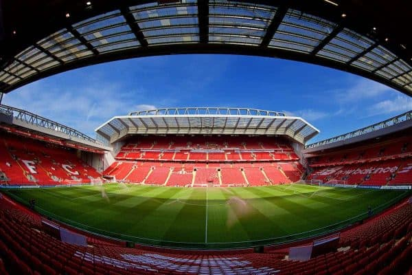 LIVERPOOL, ENGLAND - Saturday, April 28, 2018: The new Main Stand at Anfield pictured before the FA Premier League match between Liverpool FC and Stoke City FC. (Pic by David Rawcliffe/Propaganda)