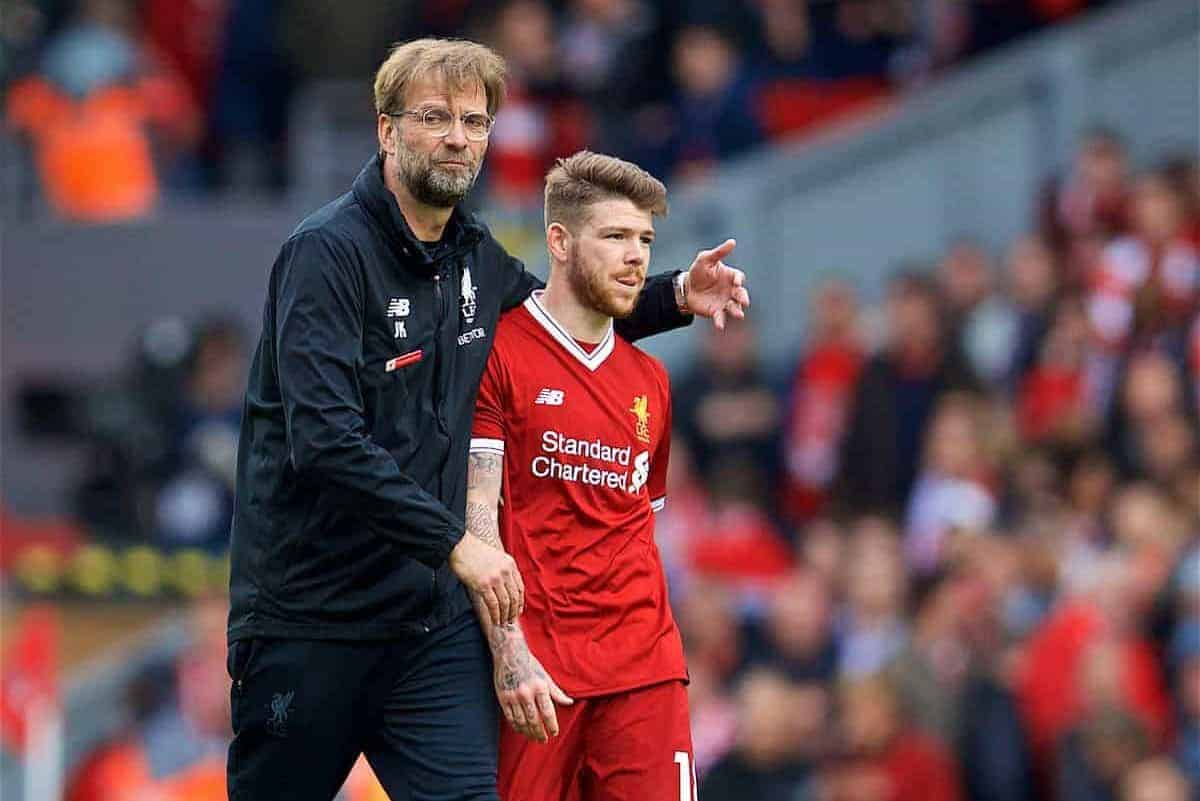 LIVERPOOL, ENGLAND - Saturday, April 28, 2018: Liverpool's manager Jürgen Klopp and Alberto Moreno after the goal-less draw against Stoke City during the FA Premier League match between Liverpool FC and Stoke City FC at Anfield. (Pic by David Rawcliffe/Propaganda)