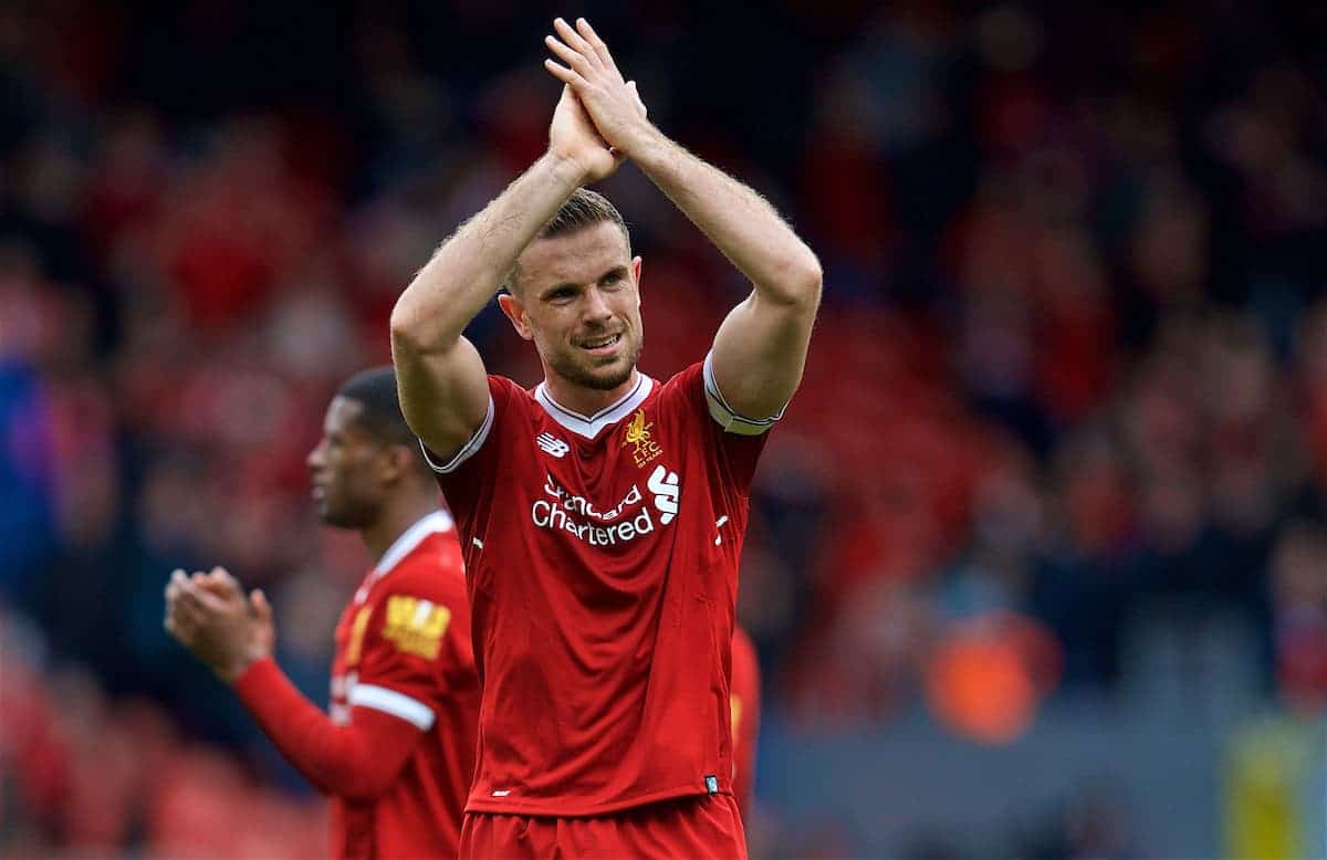 LIVERPOOL, ENGLAND - Saturday, April 28, 2018: Liverpool's captain Jordan Henderson after the goal-less draw against Stoke City during the FA Premier League match between Liverpool FC and Stoke City FC at Anfield. (Pic by David Rawcliffe/Propaganda)