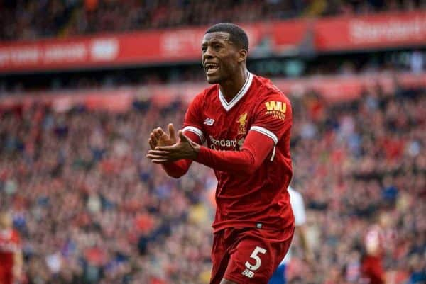 LIVERPOOL, ENGLAND - Saturday, April 28, 2018: Liverpool's Georginio Wijnaldum appeals for a penalty during the FA Premier League match between Liverpool FC and Stoke City FC at Anfield. (Pic by David Rawcliffe/Propaganda)