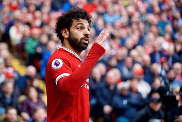 LIVERPOOL, ENGLAND - Saturday, April 28, 2018: Liverpool's Mohamed Salah during the FA Premier League match between Liverpool FC and Stoke City FC at Anfield. (Pic by David Rawcliffe/Propaganda)