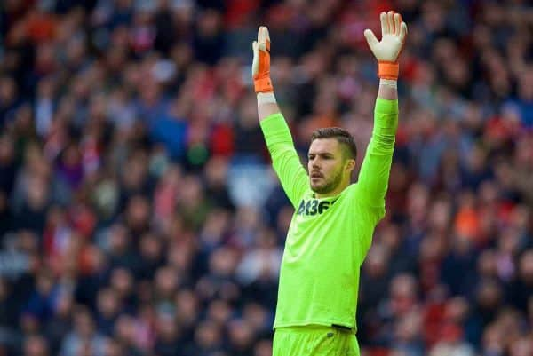 Stoke City's goalkeeper Jack Butland during the FA Premier League match between Liverpool FC and Stoke City FC at Anfield. (Pic by David Rawcliffe/Propaganda)