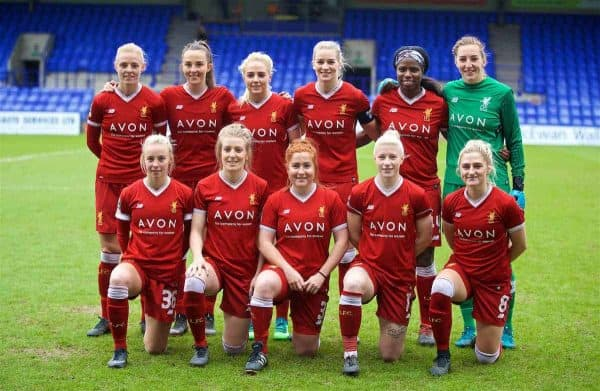 BIRKENHEAD, ENGLAND - Sunday, April 29, 2018: Liverpool players line-up for a team group photograph before the FA Women's Super League 1 match between Liverpool FC Ladies and Everton FC Ladies at Prenton Park. (Pic by David Rawcliffe/Propaganda)