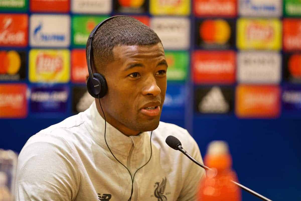 ROME, ITALY - Tuesday, May 1, 2018: Liverpool's Georginio Wijnaldum during a press conference at the Stadio Olimpico ahead of the UEFA Champions League Semi-Final 2nd Leg match between AS Roma and Liverpool FC. Liverpool lead 5-2 from the 1st Leg. (Pic by David Rawcliffe/Propaganda)